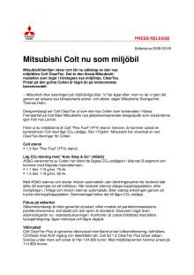Mitsubishi Colt nu som miljöbil
