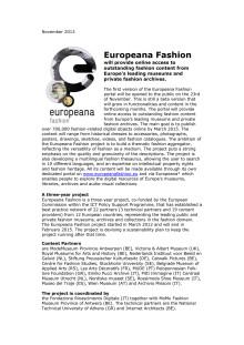 Europeana Fashion portal to be opened 2013-11-23