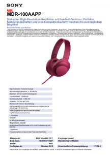Datenblatt h.ear on von Sony_pink