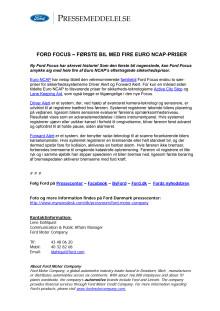 FORD FOCUS – FØRSTE BIL NOGENSINDE MED FIRE EURO NCAP-PRISER