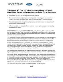 Ford og Volkswagen indgår strategisk samarbejde