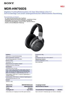 Datenblatt MDR-HW700DS von Sony