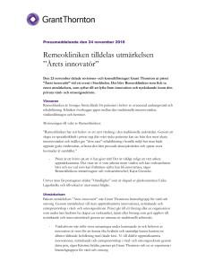 """Remeokliniken tilldelas utmärkelsen """"Årets innovatör"""""""
