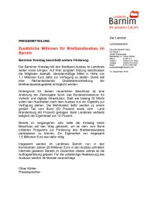 Zusätzliche Millionen für Breitbandausbau im Barnim