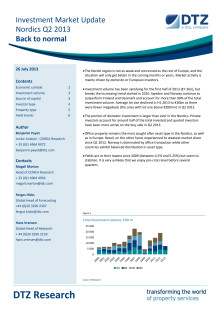 DTZ Investment Market Update Nordics Q2 2013