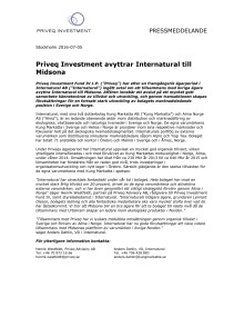 Priveq Investment avyttrar Internatural till Midsona