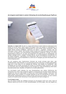 Pressemitteilung: dm bietet im Onlineshop Bezahlung per PayPal an
