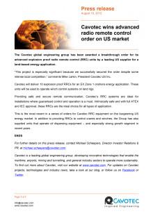 Cavotec wins advanced radio remote control order on US market