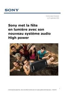 Sony met la fête en lumière avec son nouveau système audio High power