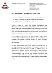 Testwageninformation Mitsubishi Eclipse Cross: Das Coupé unter den SUV