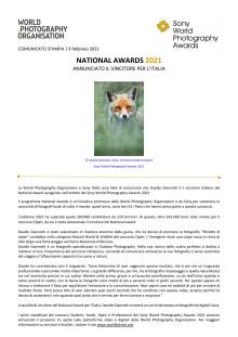 NATIONAL AWARDS 2021. ANNUNCIATO IL VINCITORE PER L'ITALIA