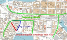 Jungmansgatan stängs av för trafik till 26 mars