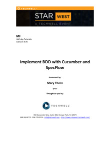 Implement BDD with Cucumber and SpecFlow, m. Mary Thorn