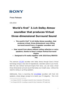Sonys nye lydplanke byr på tredimensjonal surround-lyd