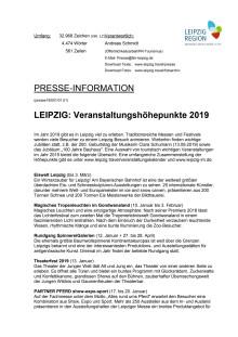 LEIPZIG - Veranstaltungshöhepunkte 2019