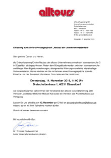 """Einladung zum alltours Pressegespräch """"Neubau der Unternehmenszentrale"""""""