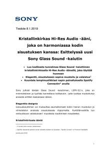Kristallinkirkas Hi-Res Audio -ääni, joka on harmoniassa kodin sisustuksen kanssa: Esittelyssä uusi Sony Glass Sound -kaiutin
