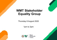 West Midlands Trains Stakeholder Equality Group presentation - 6 August 2020