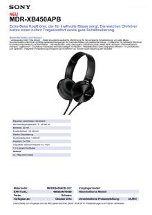 Datenblatt MDR-XB450APB von Sony