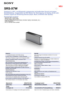 Datenblatt SRS-X7W von Sony