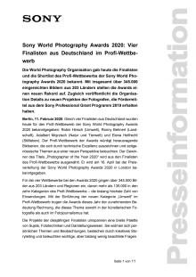 Sony World Photography Awards 2020: Vier Finalisten aus Deutschland im Profi-Wettbewerb
