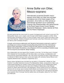BIO of Anne Sofie von Otter, Mezzo-soprano, at Drottningholm Court Theatre July 2013