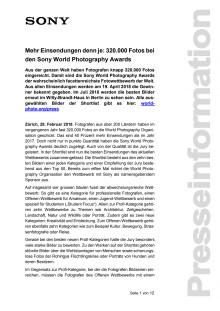 Mehr Einsendungen denn je: 320.000 Fotos bei den Sony World Photography Awards