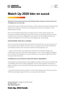 Pressmeddelande Match Up 2020 en succé pdf