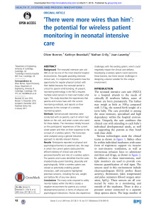 'There were more wires than him': the potential for wireless patient monitoring in neonatal intensive care