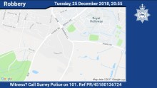 Can you help us trace four suspects involved in a robbery in Egham on Christmas Day?