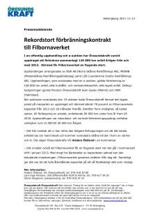 Rekordstort förbränningskontrakt till Filbornaverket