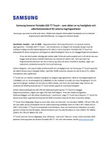 Samsung presenterar Portable SSD T7 Touch – som sätter en ny hastighets och säkerhetsstandard för externa lagringsenheter