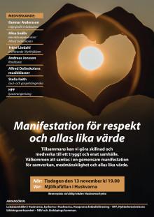 """Affisch/program """"Manifestation för alla lika värde"""" i Huskvarna 13/11 kl 19"""