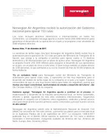 Norwegian Air Argentina recibió la autorización del Gobierno nacional para operar 152 rutas