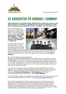 42 konserter på Grönan i sommar