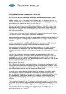 Europæisk debut til potent Ford Focus RS