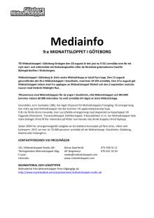Mediainformation Midnattsloppet Göteborg 2016