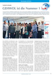 Gerlach in Kanada: GEHWOL ist die Nummer 1