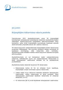 AVI: Huomioita kirjanpitäjien riskiarvioista ja riskiarvioiden laatimisesta