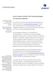 Zurich investiert 100 Mio. EUR in die Nachhaltigkeit von Nordrhein-Westfalen
