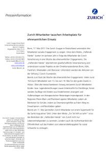 Zurich Mitarbeiter tauschen Arbeitsplatz für  ehrenamtlichen Einsatz