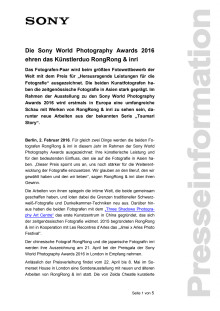Die Sony World Photography Awards 2016 ehren das Künstlerduo RongRong & inri