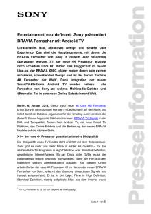 Entertainment neu definiert: Sony präsentiert BRAVIA Fernseher mit Android TV