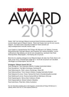 Pristagare i Bilsport Award 2013