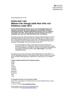 Andra året i rad: Mäklare från Arboga sålde flest villor och fritidshus under 2012