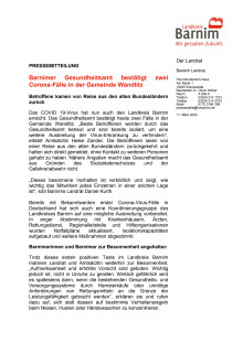 Barnimer Gesundheitsamt bestätigt zwei Corona-Fälle in der Gemeinde Wandlitz