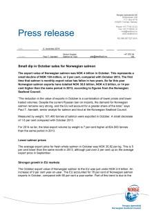 Small dip in October sales for Norwegian salmon