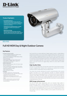 Produktblad, DCS-7513  Full HD WDR Day & Night Outdoor Camera