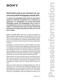 Elliott Erwitt reçoit le prix d'honneur du con-cours Sony World Photography Awards 2015