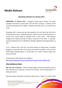 Operating Indicators for January 2015